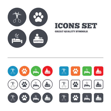 quiet: Hotel services icons. With pets allowed in room signs. Hairdresser or barbershop symbol. Reception registration table. Quiet sleep. Web buttons set. Circles and squares templates. Vector