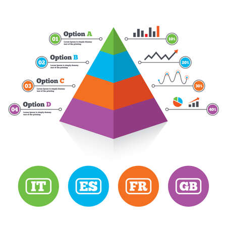 gb: Pyramid chart template. Language icons. IT, ES, FR and GB translation symbols. Italy, Spain, France and England languages. Infographic progress diagram. Vector