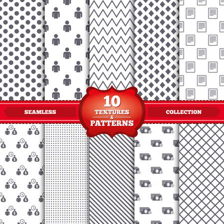 Repeatable patterns and textures. Bank loans icons. Cash money bag symbol. Apply for credit sign. Fill document and get cash money. Gray dots, circles, lines on white background. Vector Vector