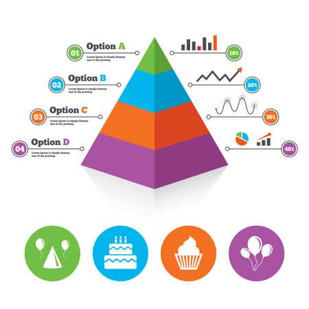 甘い食べ物: ピラミッド グラフのテンプレートです。誕生日パーティーのアイコン。ケーキ、バルーン、帽子、マフィンの兆候。お祝いのシンボル。カップケーキの甘い食べ物。インフォ グラフィックの進歩の図表。ベクトル