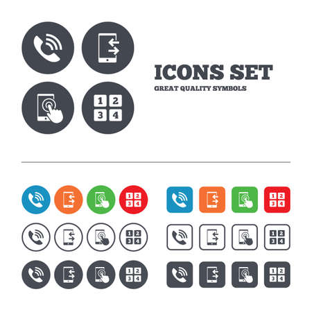 outcoming: Phone icons. Touch screen smartphone sign. Call center support symbol. Cellphone keyboard symbol. Incoming and outcoming calls. Web buttons set. Circles and squares templates. Vector Illustration