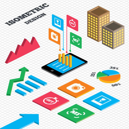 Isometric design. Graph and pie chart. Hipster retro photo camera icon. Manual focus symbols. Stopwatch timer off sign. Macro symbol. Tall city buildings with windows. Vector Illustration