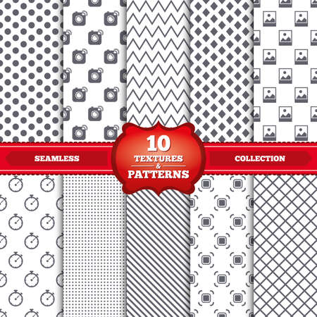 Repeatable patterns and textures. Hipster retro photo camera icon. Autofocus zone symbol. Stopwatch timer sign. Landscape photo frame. Gray dots, circles, lines on white background. Vector Vector