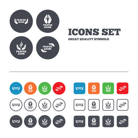 Prayer room icons. Religion priest faith symbols. Pray with hands. Web buttons set. Circles and squares templates. Vector Vector