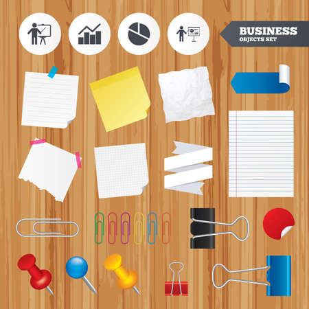 Paper sheets. Office business stickers, pin, clip. Diagram graph Pie chart icon. Presentation billboard symbol. Man standing with pointer sign. Squared, lined pages. Vector Vector