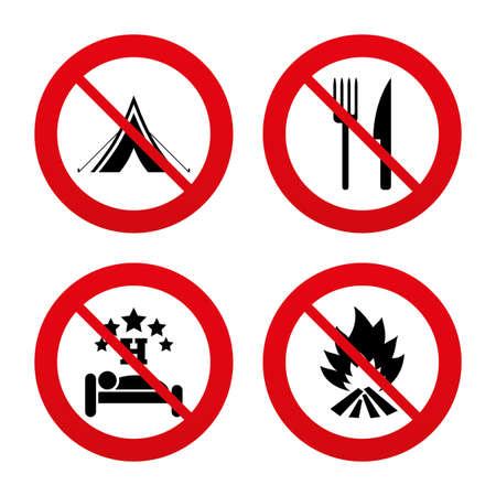 fourchette  route: Non, Ban ou panneaux d'arr�t. Nourriture, le sommeil, tente de camping et d'incendie ic�nes. Couteau et une fourchette. H�tel ou bed and breakfast. Les panneaux de signalisation. Interdiction interdit symboles rouges. Vecteur