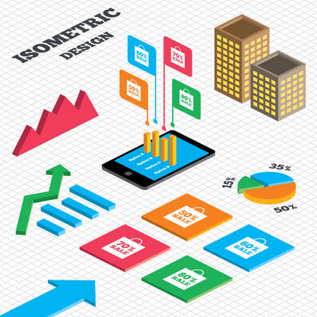 60 70: Isometric design. Graph and pie chart. Sale bag tag icons. Discount special offer symbols. 50%, 60%, 70% and 80% percent sale signs. Tall city buildings with windows. Vector Illustration