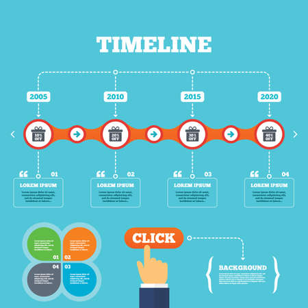 click with hand: Timeline with arrows and quotes. Sale gift box tag icons. Discount special offer symbols. 10%, 20%, 30% and 40% percent off signs. Four options steps. Click hand. Vector