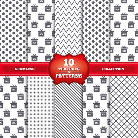 50 to 60: Repeatable patterns and textures. Sale gift box tag icons. Discount special offer symbols. 50%, 60%, 70% and 80% percent discount signs. Gray dots, circles, lines on white background. Vector
