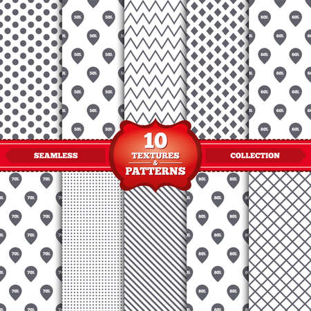 50 to 60: Repeatable patterns and textures. Sale pointer tag icons. Discount special offer symbols. 50%, 60%, 70% and 80% percent discount signs. Gray dots, circles, lines on white background. Vector Illustration