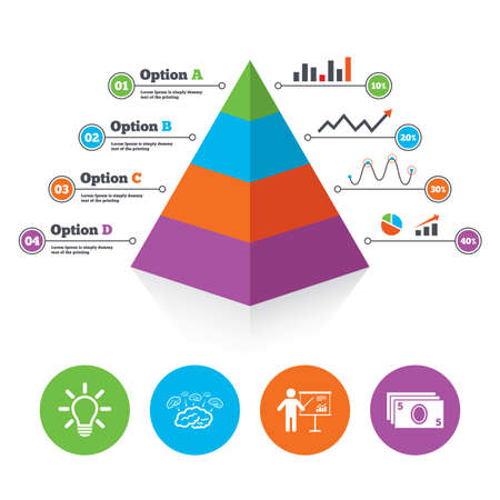 Pyramid chart template. Presentation billboard, brainstorm icons. Cash money and lamp idea signs. Man standing with pointer. Scheme and Diagram symbol. Infographic progress diagram. Vector Vector