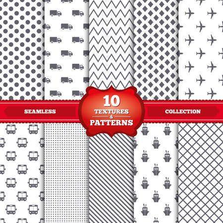 mail truck: Repeatable patterns and textures. Transport icons. Truck, Airplane, Public bus and Ship signs. Shipping delivery symbol. Air mail delivery sign. Gray dots, circles, lines on white background. Vector