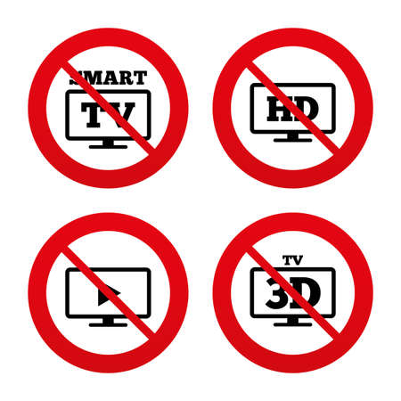 3d mode: No, Ban or Stop signs. Smart TV mode icon. Widescreen symbol. High-definition resolution. 3D Television sign. Prohibition forbidden red symbols. Vector Illustration