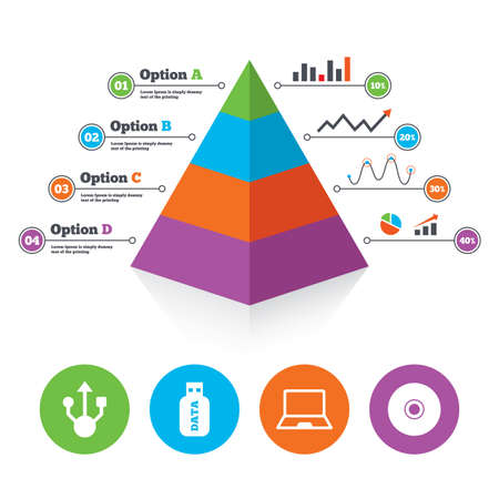 Pyramid chart template. Usb flash drive icons. Notebook or Laptop pc symbols. CD or DVD sign. Compact disc. Infographic progress diagram. Vector Vector