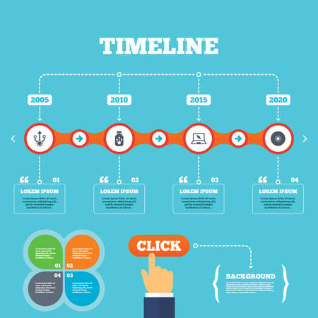 Timeline with arrows and quotes. Usb flash drive icons. Notebook or Laptop pc symbols. CD or DVD sign. Compact disc. Four options steps. Click hand. Vector Vector