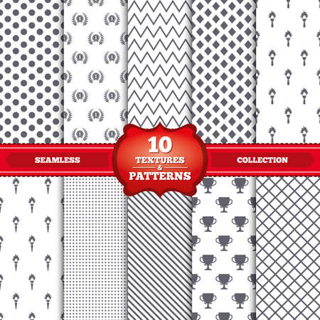 Repeatable patterns and textures. First place award cup icons. Laurel wreath sign. Torch fire flame symbol. Prize for winner. Gray dots, circles, lines on white background. Vector Vector