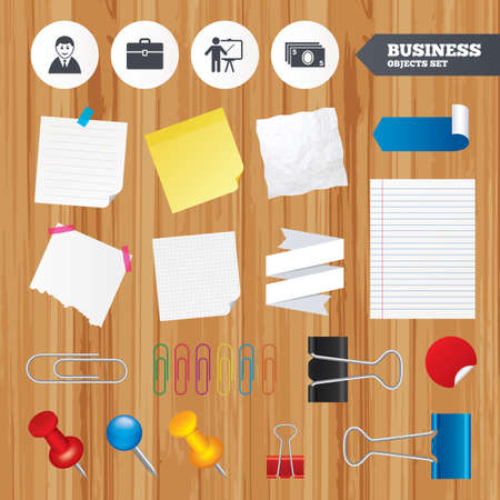 paper case: Paper sheets. Office business stickers, pin, clip. Businessman icons. Human silhouette and cash money signs. Case and presentation symbols. Squared, lined pages. Vector Illustration