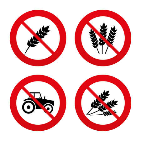 tokens: No, Ban or Stop signs. Agricultural icons. Wheat corn or Gluten free signs symbols. Tractor machinery. Prohibition forbidden red symbols. Vector
