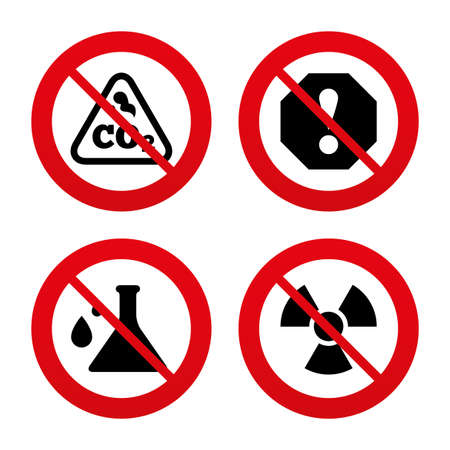 danger carbon dioxide  co2  labels: No, Ban or Stop signs. Attention and radiation icons. Chemistry flask sign. CO2 carbon dioxide symbol. Prohibition forbidden red symbols. Vector Illustration
