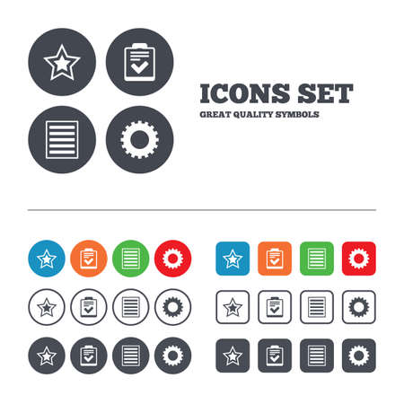 Star favorite and menu list icons. Checklist and cogwheel gear sign symbols. Web buttons set. Circles and squares templates. Vector