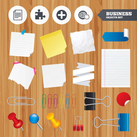 puzzle globe: Paper sheets. Office business stickers, pin, clip. Plus add circle and puzzle piece icons. Document file and globe with hand pointer sign symbols. Squared, lined pages. Vector Illustration