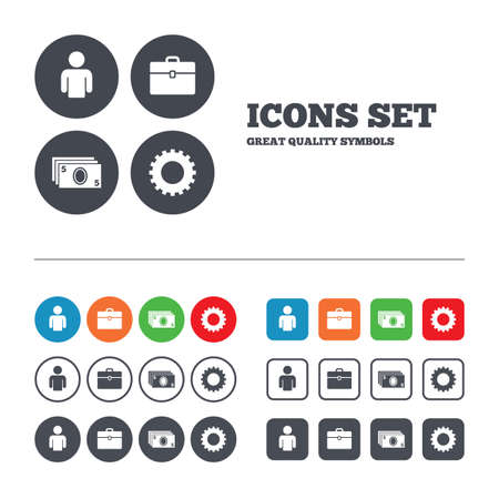 Businessman icons. Human silhouette and cash money signs. Case and gear symbols. Web buttons set. Circles and squares templates. Vector Vector