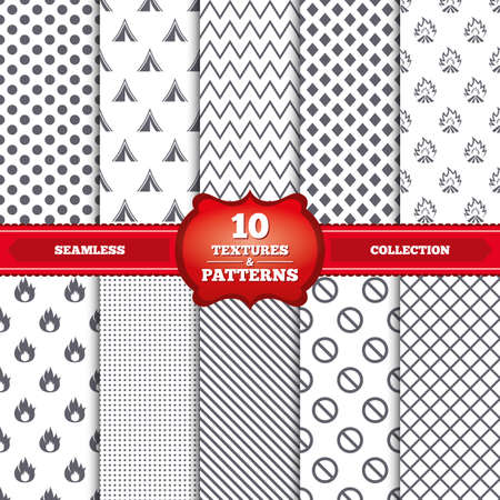 Repeatable patterns and textures. Tourist camping tent icon. Fire flame and stop prohibition sign symbols. Gray dots, circles, lines on white background. Vector Vector