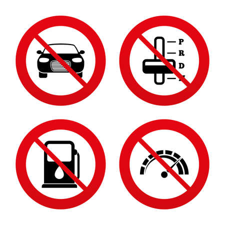 automatic transmission: No, Ban or Stop signs. Transport icons. Car tachometer and automatic transmission symbols. Petrol or Gas station sign. Prohibition forbidden red symbols. Vector