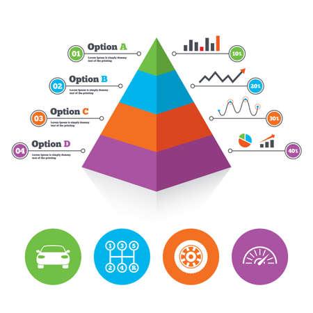 tachometer: Pyramid chart template. Transport icons. Car tachometer and mechanic transmission symbols. Wheel sign. Infographic progress diagram. Vector