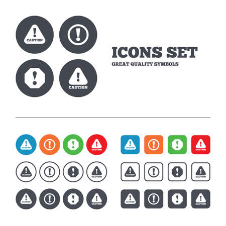 danger symbol: Attention caution icons. Hazard warning symbols. Exclamation sign. Web buttons set. Circles and squares templates. Vector