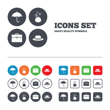 business case: Clothing accessories icons. Umbrella and headdress hat signs. Wallet with cash coins, business case symbols. Web buttons set. Circles and squares templates. Vector