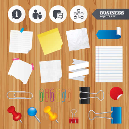 relational: Paper sheets. Office business stickers, pin, clip. Information sign. Group of people and database symbols. Chat speech bubbles sign. Communication icons. Squared, lined pages. Vector