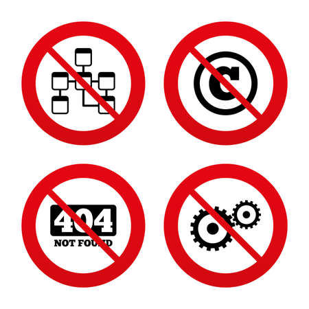 copyrights: No, Ban or Stop signs. Website database icon. Copyrights and gear signs. 404 page not found symbol. Under construction. Prohibition forbidden red symbols. Vector