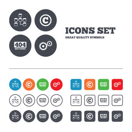 copyrights: Website database icon. Copyrights and gear signs. 404 page not found symbol. Under construction. Web buttons set. Circles and squares templates. Vector