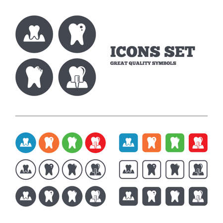 Dental care icons. Caries tooth sign. Tooth endosseous implant symbol. Parodontosis gingivitis sign. Web buttons set. Circles and squares templates. Vector Vector