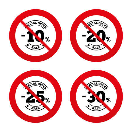 20 to 25: No, Ban or Stop signs. Sale discount icons. Special offer stamp price signs. 10, 20, 25 and 30 percent off reduction symbols. Prohibition forbidden red symbols. Vector