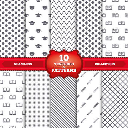 higher education: Repeatable patterns and textures. Pencil and open book icons. Graduation cap symbol. Higher education learn signs. Gray dots, circles, lines on white background. Vector Illustration