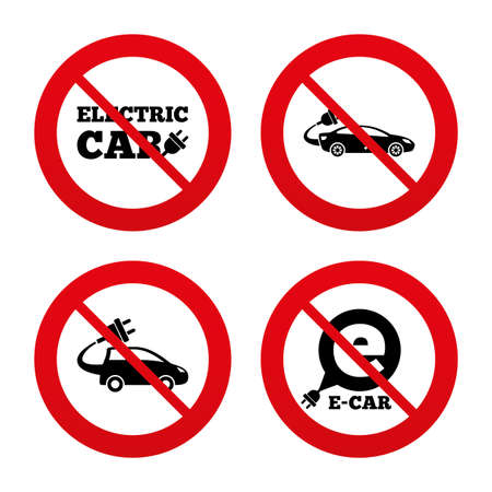 hatchback: No, Ban or Stop signs. Electric car icons. Sedan and Hatchback transport symbols. Eco fuel vehicles signs. Prohibition forbidden red symbols. Vector