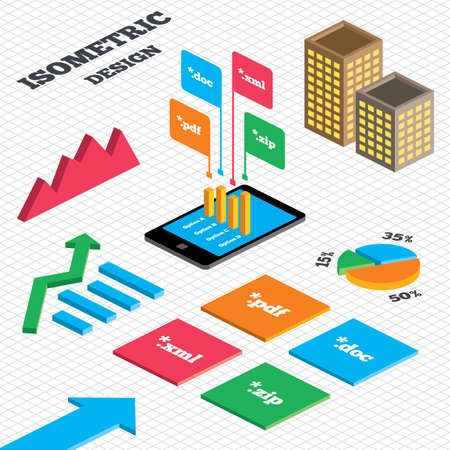 extensible: Isometric design. Graph and pie chart. Document icons. File extensions symbols. PDF, ZIP zipped, XML and DOC signs. Tall city buildings with windows. Vector