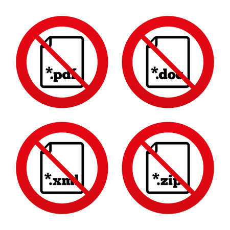 markup: No, Ban or Stop signs. Download document icons. File extensions symbols. PDF, ZIP zipped, XML and DOC signs. Prohibition forbidden red symbols. Vector Illustration