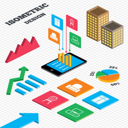 Isometric design. Graph and pie chart. Furniture icons. Cupboard, chair and TV table signs. Modern armchair symbol. Tall city buildings with windows. Vector Vector