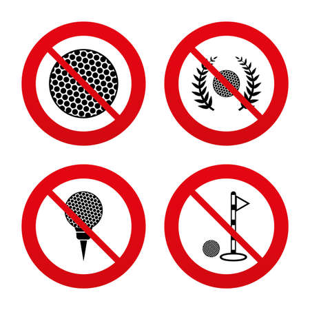 No, Ban or Stop signs. Golf ball icons. Laurel wreath winner award sign. Luxury sport symbol. Prohibition forbidden red symbols. Vector Vector