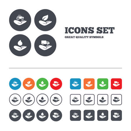 Helping hands icons. Agricultural tractor insurance symbol. Delivery truck sign. Save nature leaf and water drop. Web buttons set. Circles and squares templates. Vector Vector