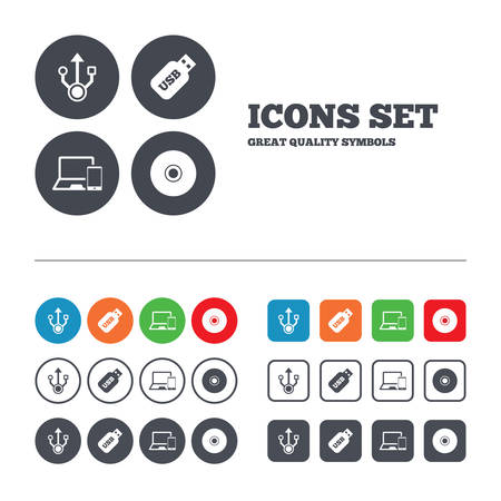 Usb flash drive icons. Notebook or Laptop pc symbols. Smartphone device. CD or DVD sign. Compact disc. Web buttons set. Circles and squares templates. Vector Vector
