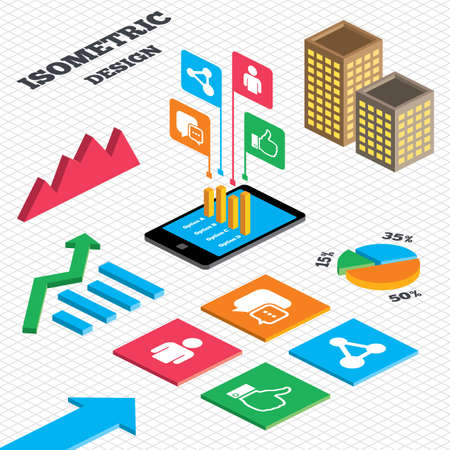 link up: Isometric design. Graph and pie chart. Social media icons. Chat speech bubble and Share link symbols. Like thumb up finger sign. Human person profile. Tall city buildings with windows. Vector