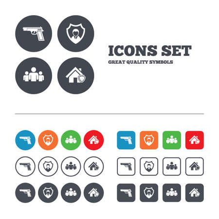 Security agency icons. Home shield protection symbols. Gun weapon sign. Group of people or Share. Web buttons set. Circles and squares templates. Vector Illustration