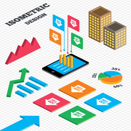 50 to 60: Isometric design. Graph and pie chart. Sale arrow tag icons. Discount special offer symbols. 50%, 60%, 70% and 80% percent off signs. Tall city buildings with windows. Vector