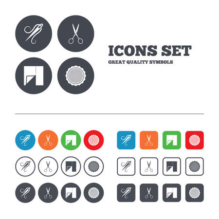 Textile cloth piece icon. Scissors hairdresser symbol. Needle with thread. Tailor symbol. Canvas for embroidery. Web buttons set. Circles and squares templates. Vector Vector