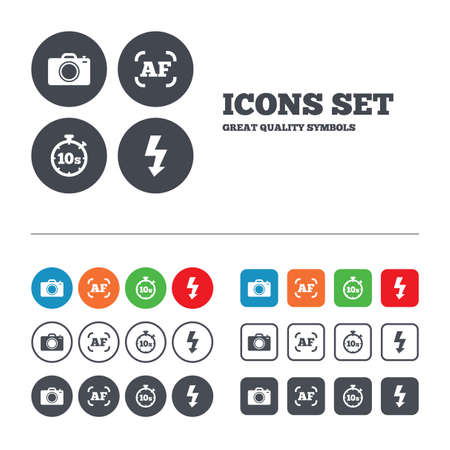 Photo camera icon. Flash light and autofocus AF symbols. Stopwatch timer 10 seconds sign. Web buttons set. Circles and squares templates. Vector