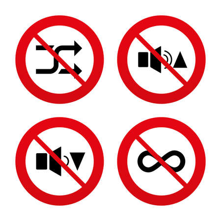 No, Ban or Stop signs. Player control icons. Sound louder and quieter signs. Dynamic symbol. Shuffle random and repeat loop. Prohibition forbidden red symbols. Vector Vector